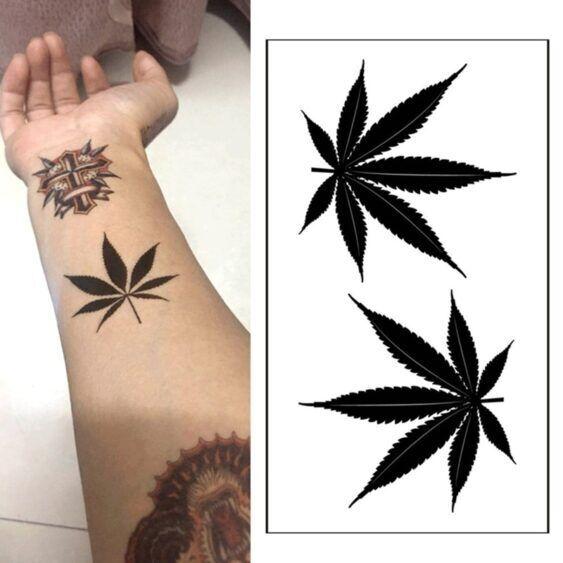 """""""Tatuagem"""" temporária à prova d'água com a folha (transfer)"""