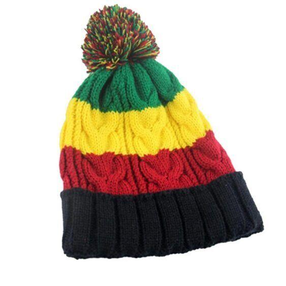 Gorro com as cores da Jamaica