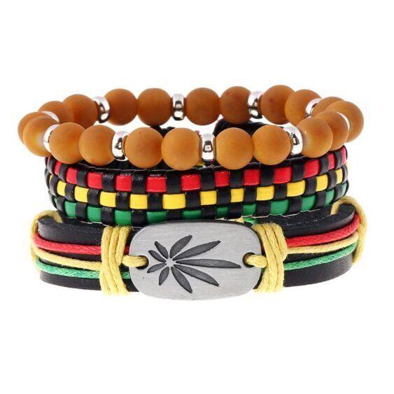 Bracelete Traçado Rasta com a Folha e as cores da Jamaica